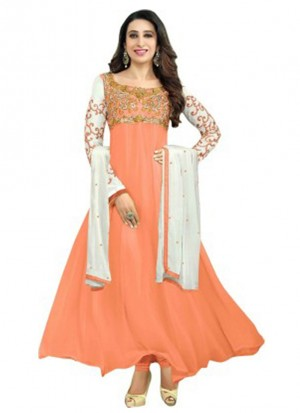Karishma Kapoor Orange Designer Georgette Anarkali Suit at Zikimo