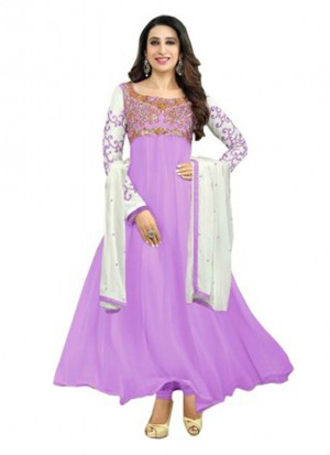 Karishma Kapoor Purple Designer Georgette Anarkali Suit at Zikimo