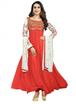 Karishma Kapoor Red Designer Georgette Anarkali Suit at Zikimo