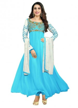 Karishma Kapoor SkyBlue Designer Georgette Anarkali Suit at Zikimo
