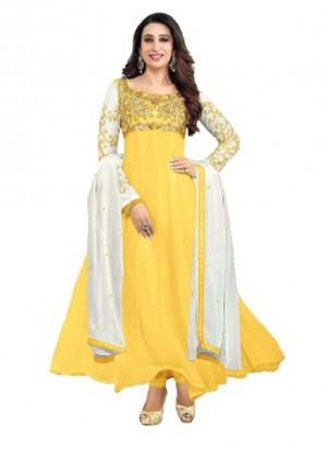 Karishma Kapoor Yellow Designer Georgette Anarkali Suit at Zikimo