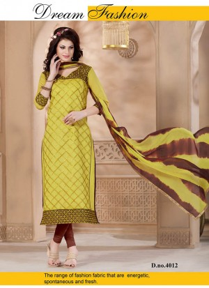 Best Ever Yellow and Brown 4012 Chanderi Daily Wear Straight Suit At Zikimo