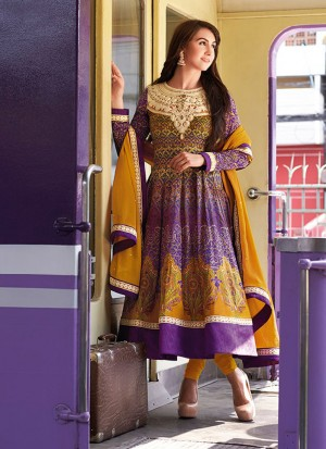 Luxurious Multicolor and Dark Yellow 8315A Cotton Satin Anarkali Party Wear Suit At Zikimo