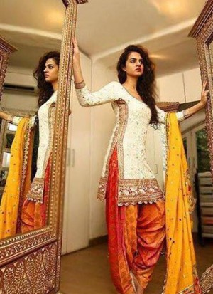 Floral White With Orange Embroidered and Lace Work Punjabi Salwar Kameez At Zikimo
