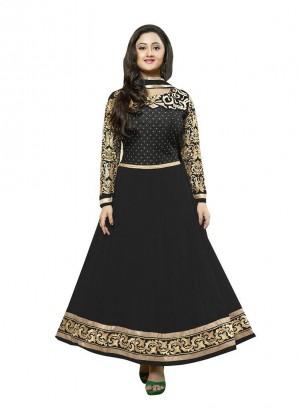 Charming Rashmi Desai In Black Georgette A Line Salwar Kameez at Zikimo