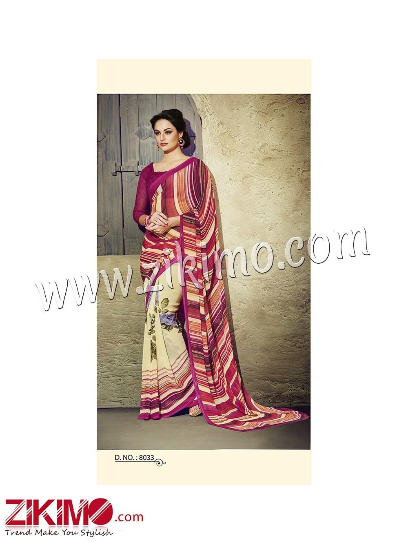 Zikimo Zara8033 DakrMagenta and Ivory Daily Wear Designer Chiffon Saree