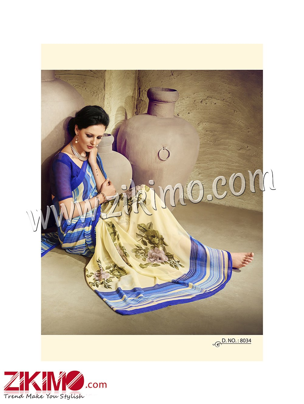 Zikimo Zara8034 RoyalBlue and Beige Daily Wear Designer Chiffon Saree