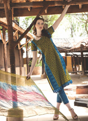 Extreme 0841A Yellow and Blue Satin Cotton Un-stitched Straight Suit at Zikimo
