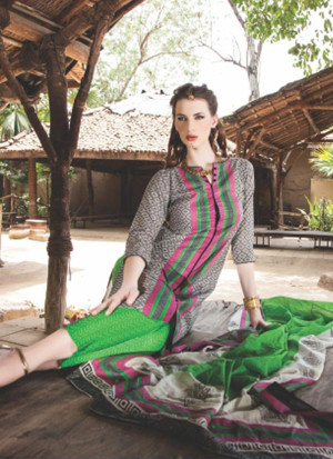 Astonishing 0842B Black White and Green Satin Cotton Un-stitched Straight Suit at Zikimo