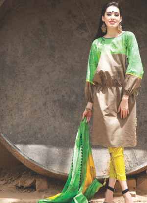 Extreme 0843C Green and Brown Satin Cotton Un-stitched Straight Suit at Zikimo