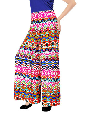 Pink Blue and Orange6054B Printed Rayon Daily Wear Stiched Plazo at Zikimo