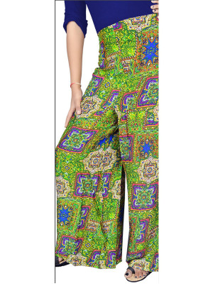 ParrotGreen and Multicolor6056A Printed Rayon Daily Wear Stiched Plazo at Zikimo