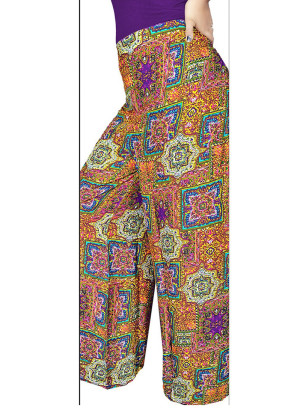 Magenta and Multicolor6056B Printed Rayon Daily Wear Stiched Plazo at Zikimo