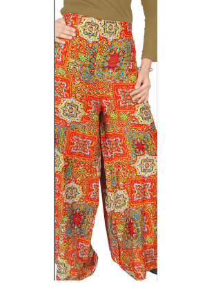 Orange and Multicolor6056C Printed Rayon Daily Wear Stiched Plazo at Zikimo
