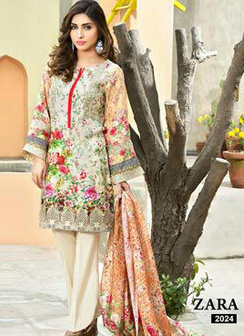 2024OffWhite and Multicolor Printed Pure Cambric Cotton Pakistani ...