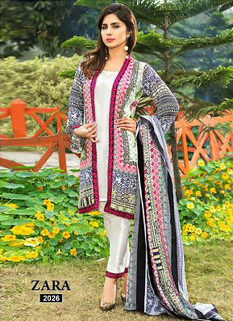 51bd4727b0 Amiable 2026White and Black Printed Pure Cambric Cotton Pakistani Party  Wear Suit At Zikimo ...