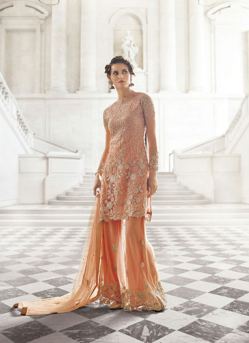 zoya peach color georgette net sharara plazo wedding party
