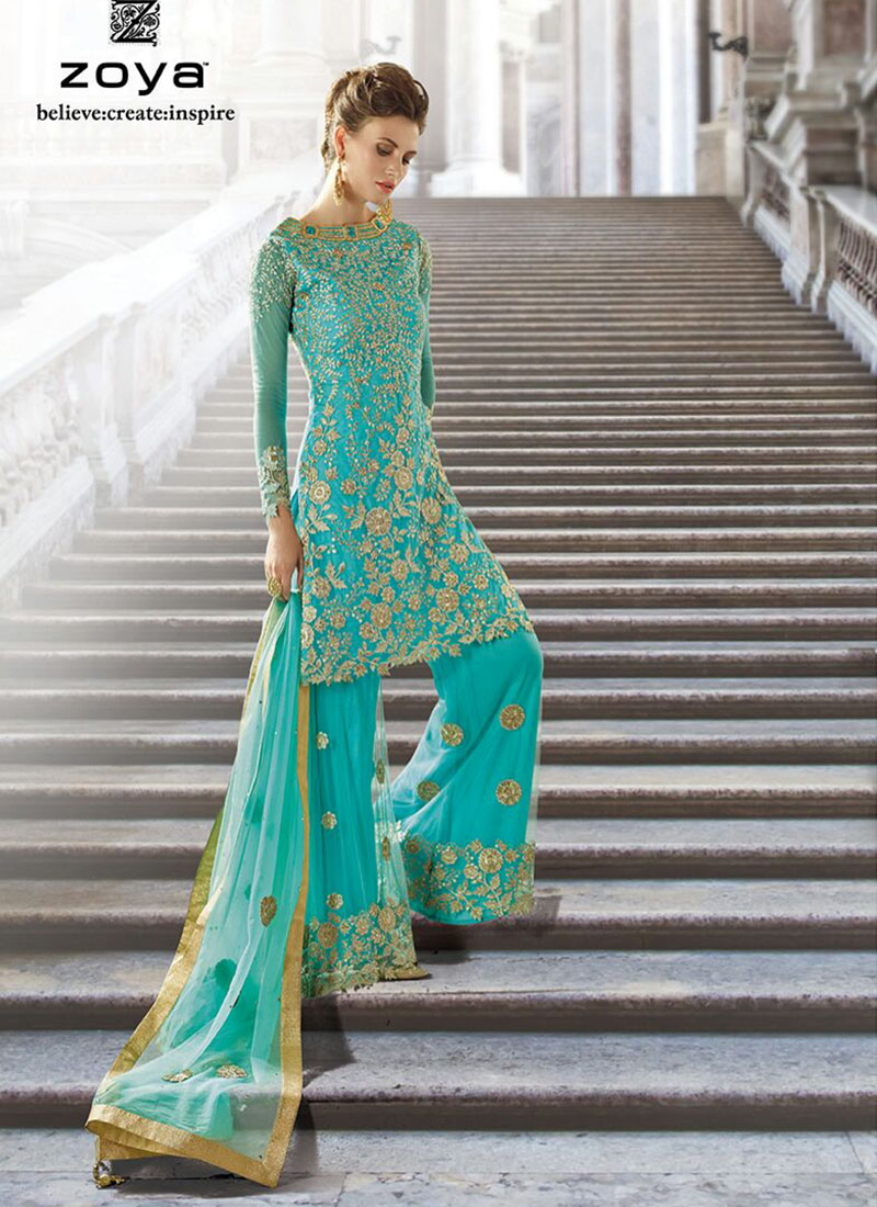 zoya blue color georgette net sharara plazo wedding party