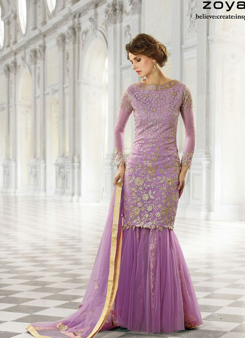 Zoya Purple Color Georgette Net Sharara Plazo Wedding