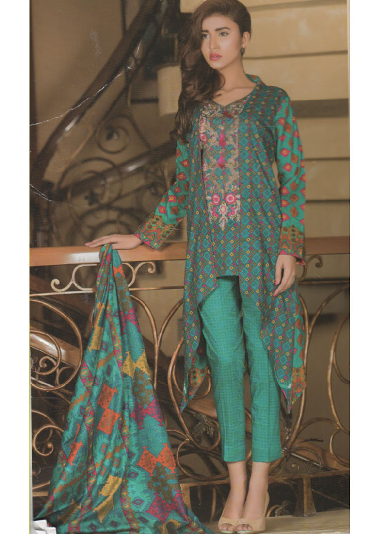 0ff1ceb754 SeaGreen and Multicolor08B Embroidery Printed Lawn Pakistani Suit at Zikimo  ...