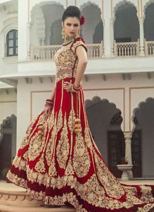 Indian Bride Red Lehenga Gown With Zardosi,Dabka, Swarovski Crystals  at Zikimo