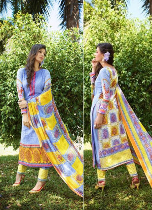 Blue and Yellow01 Embroidered Pakistani Cotton Daily Wear Suit At Zikimo