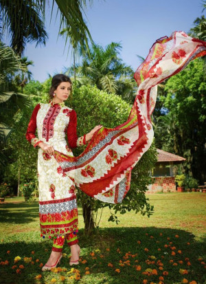 White and Red02 Embroidered Pakistani Cotton Daily Wear Suit At Zikimo