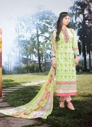 White and LightGreen06 Embroidered Pakistani Cotton Daily Wear Suit At Zikimo