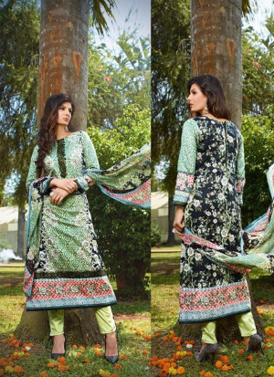 Multicolor and Black07 Embroidered Pakistani Cotton Daily Wear Suit At Zikimo