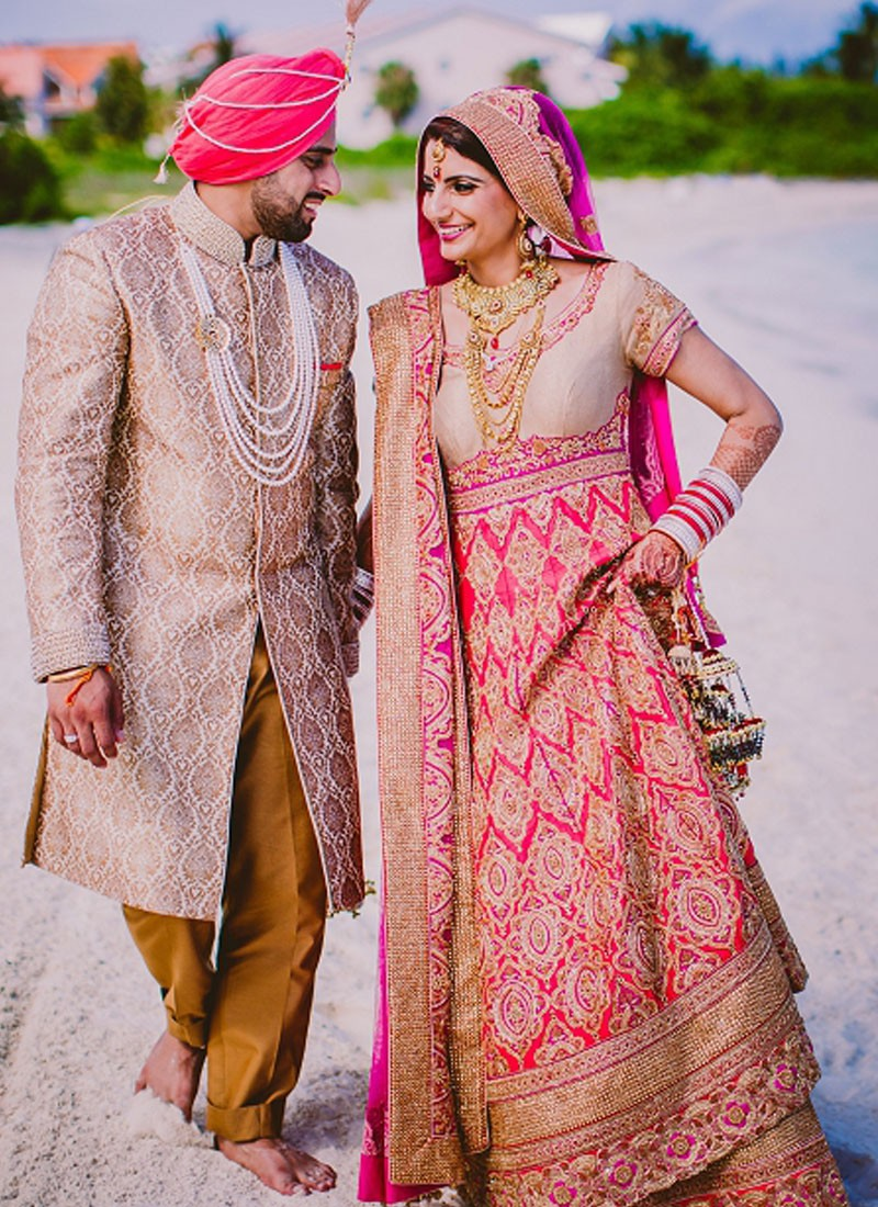 Traditional Indian Bridal Anarkali Suit with Lehenga at Zikimo