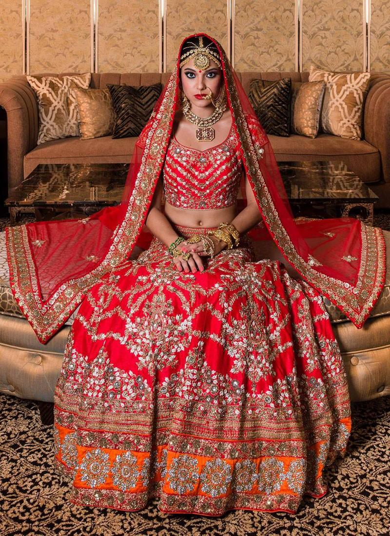 dac6972fae Heavy Indian Bride Red Bridal Lehenga with Zardozi Work at Zikimo ...