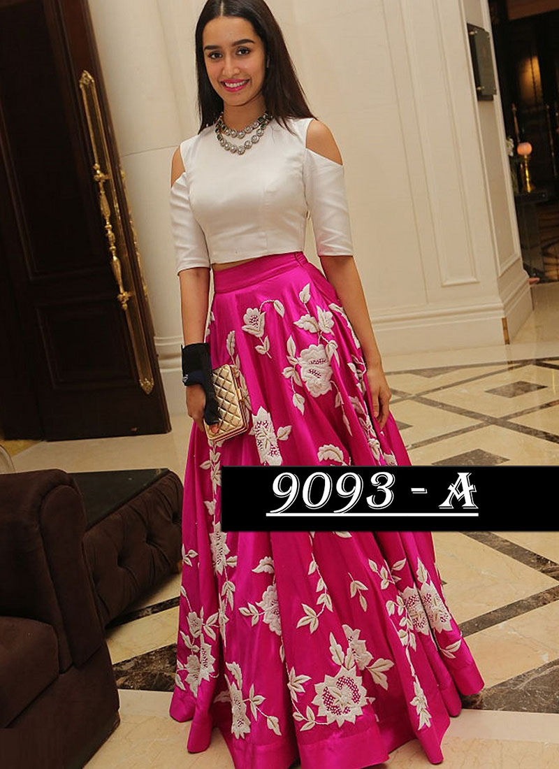 d8901596e54 Shradha Kapoor Wearing Pink Banglori Silk Lehenga Skirt With Crop Top at  Zikimo ...