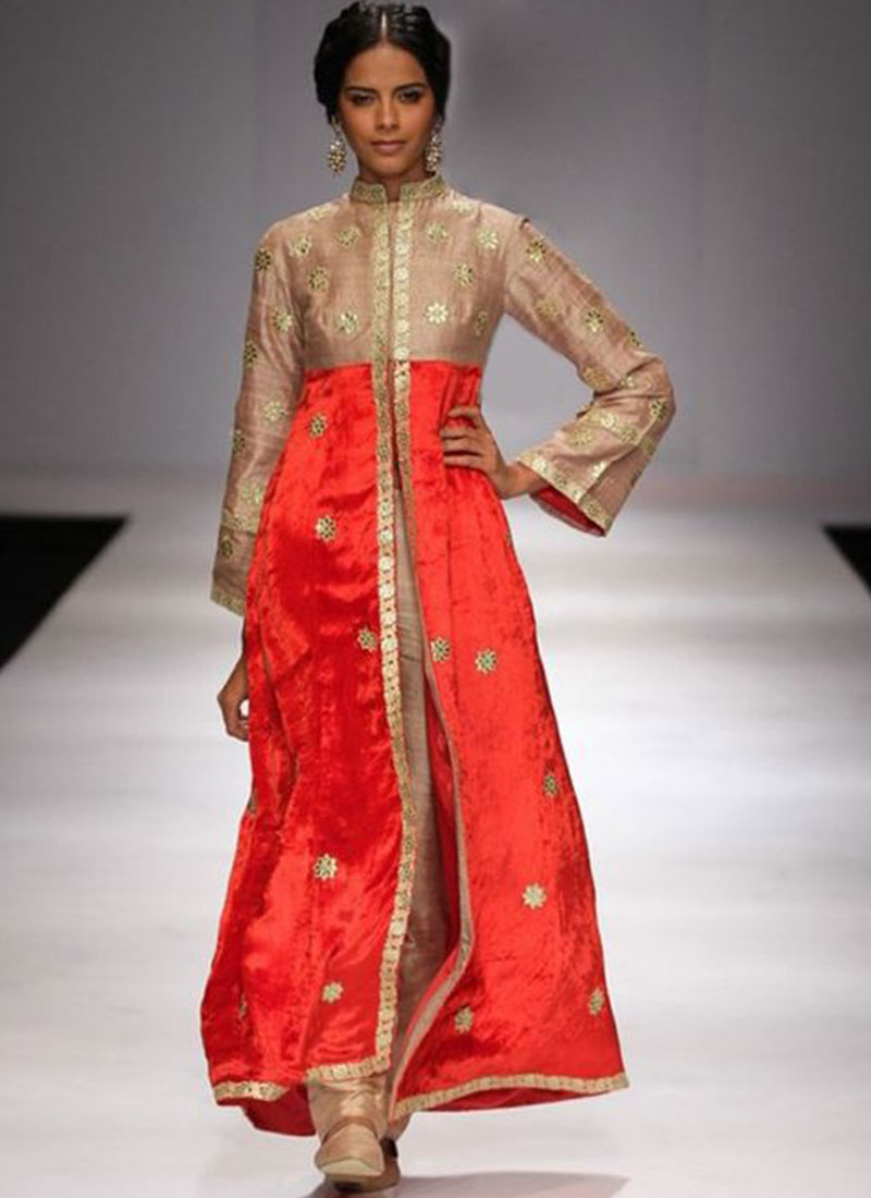Ban Collar Raw Silk Biege And Orange Color Long Straight Suit With