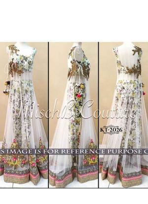 White SEMI STICH PRINT BANGLORY SILK  Long Gown AT Zikimo