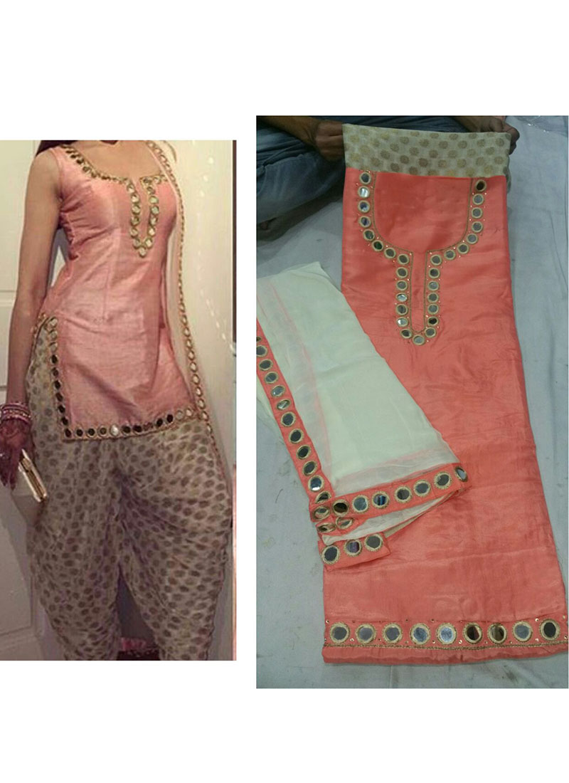 peach color pure dupiun banarsi punjabi salwar suit with