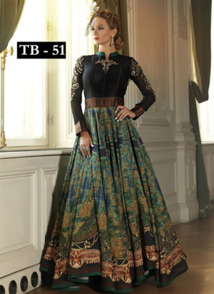 Multicolor Zari Embroidery Bhagalpuri Silk Anarkali Suit51 With Embellishements at Zikimo