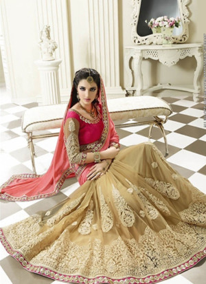 Biege and Pink Georgette Party Wear Indian Saree at Zikimo