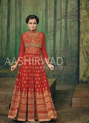 Red Color3002 Diya Mirza Georgette Indian Wedding Wear Embroidred Suit at Zikimo