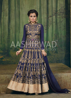 Royal Blue Color3004 Diya Mirza Georgette Indian Wedding Wear Embroidred Suit at Zikimo
