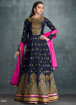 7bd70e006a Gulzar NavyBlue1602 Georgette Embroidered Indian Wedding Anarkali Suit at  Zikimo