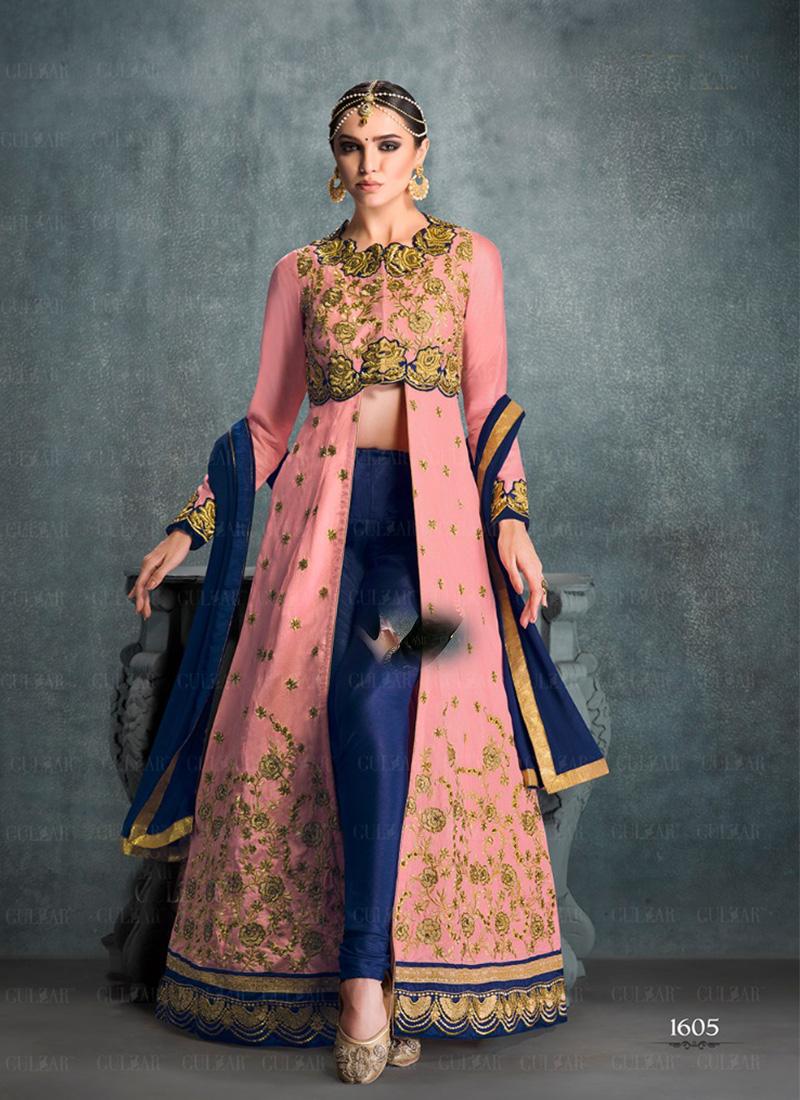 aad06b6afc Gulzar Pink Blue1605 BangloriSilk Embroidered Indian Wedding Pants Suit at  Zikimo ...