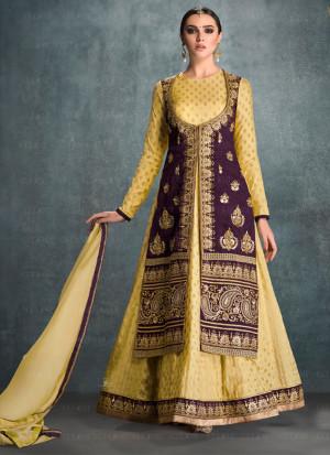 9e5376f244 Gulzar Purple Tan1606 BangloriSilk Embroidered Jacket Style Floor Length  Anarkali Suit at Zikimo ...