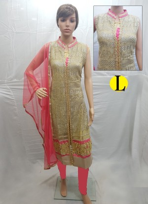 Beige and Tomato Net Embroidery Designer Readymade Straight Salwar Suit at Zikimo