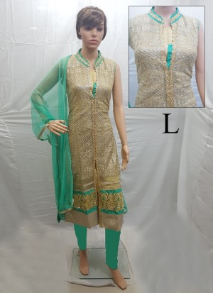 Beige and Turquoise Net Embroidery Designer Readymade Straight Salwar Suit at Zikimo