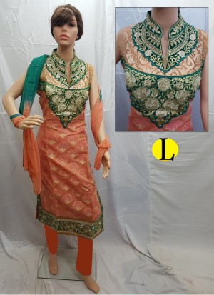 Orange and Green Cotton Jacquard Embroidery Designer Readymade Straight Salwar Suit at Zikimo
