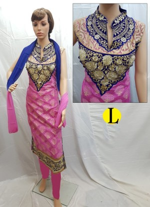 Pink and Blue Cotton Jacquard Embroidery Designer Readymade Straight Salwar Suit at Zikimo