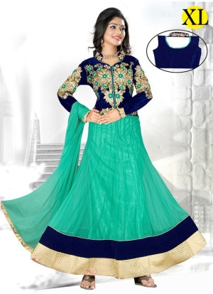 AQUAMARINE AND DARK BLUE NET EMBROIDERY Designer Readymade Anarkali Salwar Suit at Zikimo