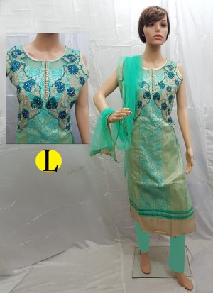Turquoise Net Embroidery Designer Readymade Straight Salwar Suit at Zikimo