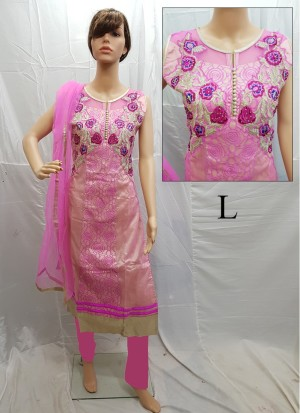 Pink Net Embroidery Designer Readymade Straight Salwar Suit at Zikimo