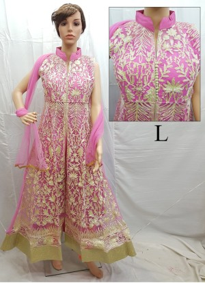 Pink  Net Embroidery Designer Readymade Anarkali Salwar Suit at Zikimo